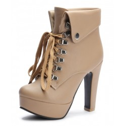 Khaki Brown Lolita Punk Rock Lace Up High Heels Platforms Boots Shoes