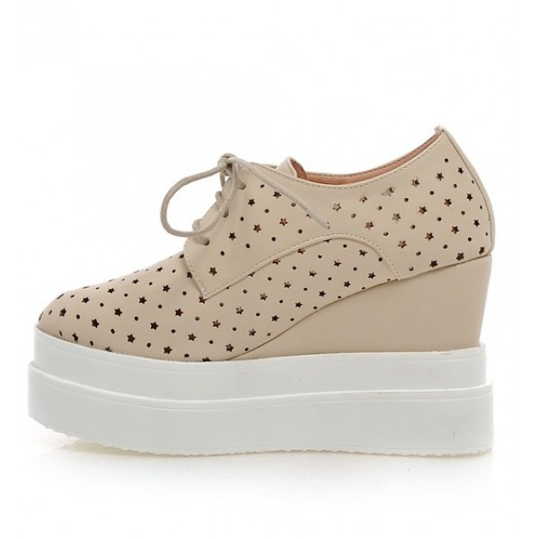 Khaki Stars Hollow Out Lace Up Platforms Wedges Oxfords Sneakers Shoes