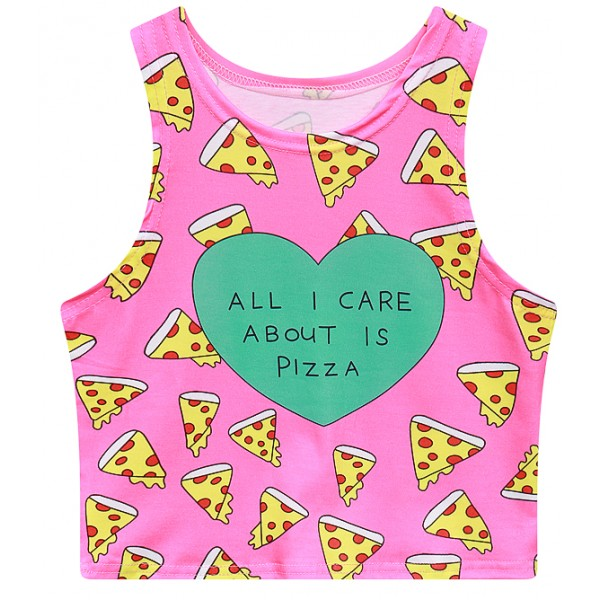 Pink All I Care About is Pizza Sleeveless T Shirt Cami Tank Top