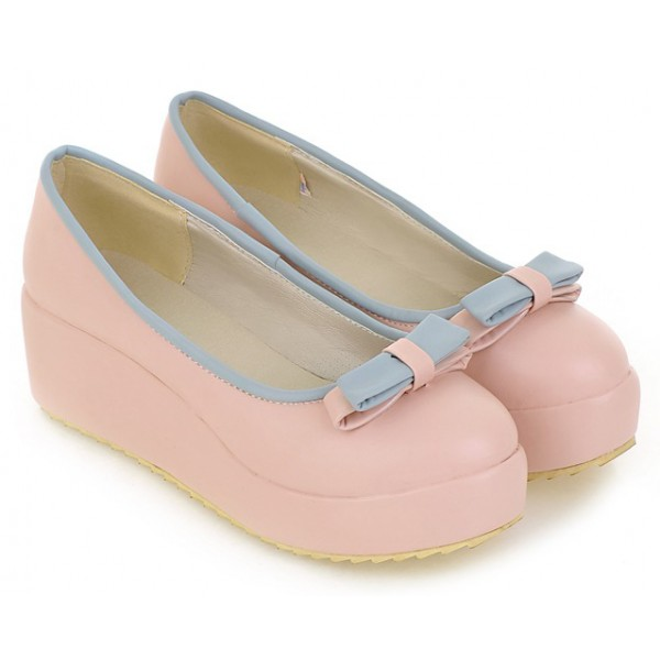 Pink Bow Platforms Ballerina Ballets Flats Shoes