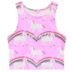 Pink Unicorn Sky Rainbow Sleeveless T Shirt Cami Tank Top