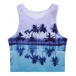 Purple Summer Lake Sleeveless T Shirt Cami Tank Top