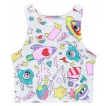 White Harajuku Cartoon Punk Rock Sleeveless T Shirt Cami Tank Top