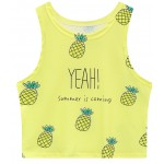 Yellow Yeah Summer is Coming Pineapples Sleeveless T Shirt Cami Tank Top