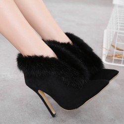 Black Rabbit Fur Point Head Stiletto High Heels Boots Shoes
