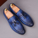 Blue Knitted Leather Tassels Mens Oxfords Loafers Dress Shoes Flats