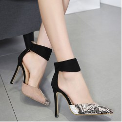 Black Khaki Suede Point Head Ankle Strap High Heels Stiletto Sandals Shoes