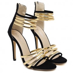 Black Suede Gold Straps Sexy High Heels Stiletto Sandals Shoes