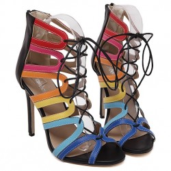 Rainbow Lace Up Hollow Cut Out High Heels Stiletto Sandals Shoes