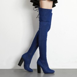 Denim Blue Pointed Head Stretchy Over the Knee Stiletto High Heels Long Boots Shoes
