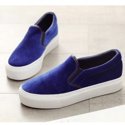 Blue Royal Velvet Platforms Sole Womens Sneakers Loafers Flats Shoes