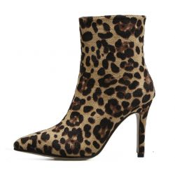 Leopard Print Pointed Head Stiletto High Heels Ankle Boots Shoes