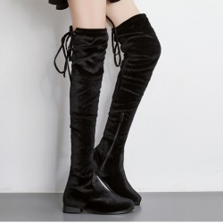 Black Velvet Long Knee Rider Flats Boots Shoes
