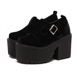 Black Velvet T Strap Goth Punk Rock Platforms Chunky Sole Oxfords Shoes