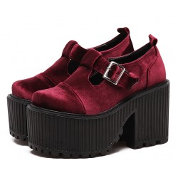 Burgundy Velvet T Strap Goth Punk Rock Platforms Chunky Sole Oxfords Shoes