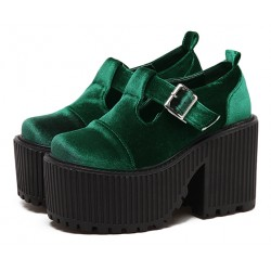 Green Velvet T Strap Goth Punk Rock Platforms Chunky Sole Oxfords Shoes