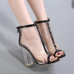 Transparent Black PU Peep Toe Glass High Heels Boots Shoes