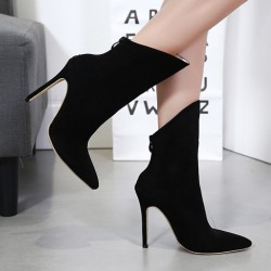 Black Point Head Mid Length Stiletto High Heels Boots Shoes