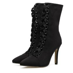 Black Suede Point Head Mid Length Lace Up Rider Stiletto High Heels Boots Shoes