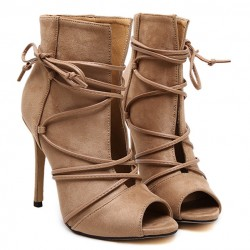 Brown Suede Lace Up Peep Toe Strappy Stiletto High Heels Ankle Boots Shoes