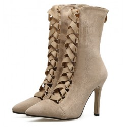 Khaki Suede Point Head Mid Length Lace Up Rider Stiletto High Heels Boots Shoes