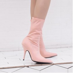 Pink Baby Stretchy Satin Point Head Mid Length Stiletto High Heels Boots Shoes