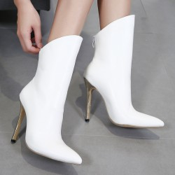 White Point Head Mid Length Stiletto High Heels Boots Shoes