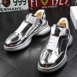 Silver Metallic Lace Up Thick Sole High Top Sneakers Mens Shoes