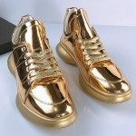 Gold Metallic Lace Up Thick Sole High Top Sneakers Mens Shoes