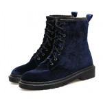 Blue Navy Velvet Lace Up Combat Military Boots Shoes
