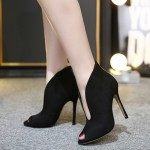 Black Suede Peep Toe Stiletto High Heels Ankle Boots Shoes