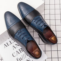 Blue Black Vintage Pointed Head Baroque Oxfords Flats Dress Shoes