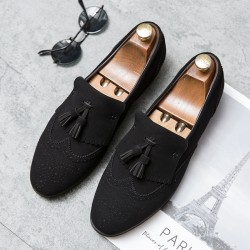 Black Tassels Pointed Head Baroque Vintage Dapperman Flats Dress Shoes