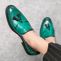 Green Tassels Vintage Pointed Head Loafers Flats Dress Prom Shoes