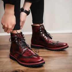 Burgundy Wingtip Punk Rock Vintage Mens Chelsea Military Boots Shoes