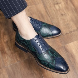 Blue Teal Turquoise Snake Skin Pattern Baroque Oxfords Flats Dress Shoes