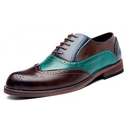 Teal Green Blue Brown Vintage Baroque Oxfords Flats Dress Shoes