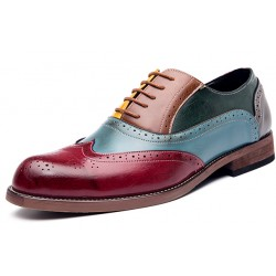 Burgundy Blue Vintage Baroque Oxfords Flats Dress Shoes