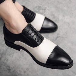 Black White Pointed Head Baroque Oxfords Flats Dress Shoes