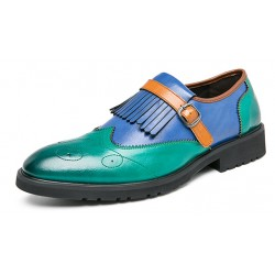 Teal Green Blue Fringes Monk Strap Vintage Baroque Loafers Flats Dress Shoes