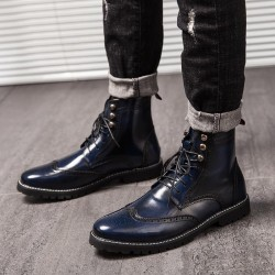 Blue Wingtip Punk Rock Vintage Mens Chelsea Military Boots Shoes
