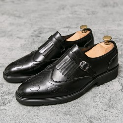 Black Fringes Monk Strap Vintage Baroque Loafers Flats Dress Prom Shoes