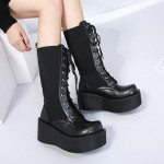 Black Chunky Platforms Sole Back Lace Up Grunge Gothic High Top Boots Shoes