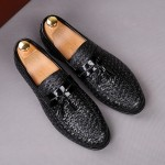 Black Knitted Leather Tassels Mens Oxfords Loafers Dress Shoes Flats