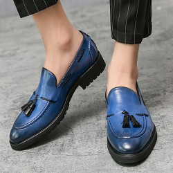 Blue Tassels Vintage Pointed Head Loafers Flats Dress Prom Shoes