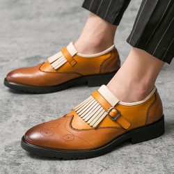 Brown Fringes Monk Strap Vintage Baroque Loafers Flats Dress Prom Shoes