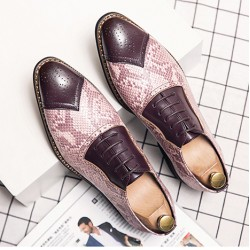 Brown Snake Skin Pattern Baroque Oxfords Flats Dress Shoes