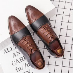 Brown Vintage Pointed Head Baroque Oxfords Flats Dress Shoes