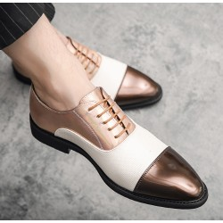 Brown White Pointed Head Baroque Oxfords Flats Dress Shoes