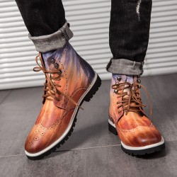 Brown Wingtip Punk Rock Vintage Mens Chelsea Military Boots Shoes